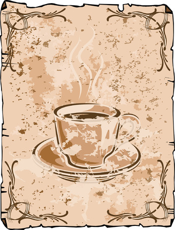 Vector coffee cup background, old grungy version Illustration