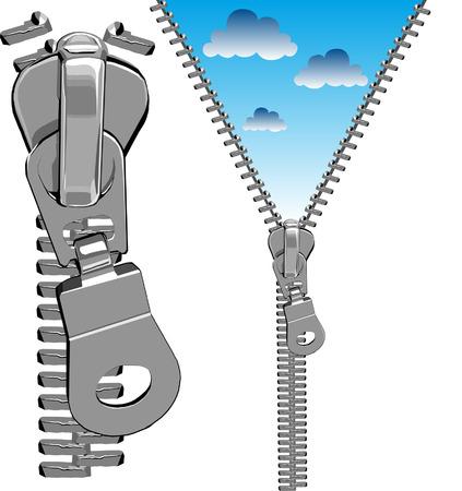 Vector zipper conceptual illustration. Space for your ideas