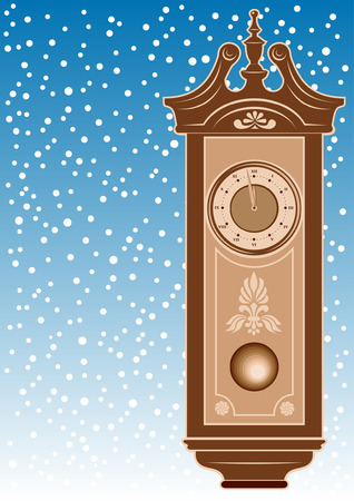 timekeeper: Vector grandfather clock with ornaments against snowflakes background. Fingers near 12 Illustration