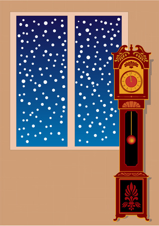 timekeeper: Vector grandfather clock in the room. Snowflakes outside the window. Fingers near 12