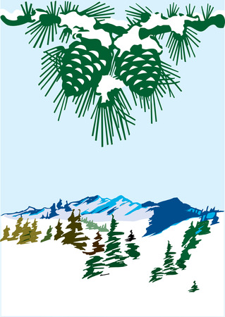 Vector winter landscape with cones above Illustration