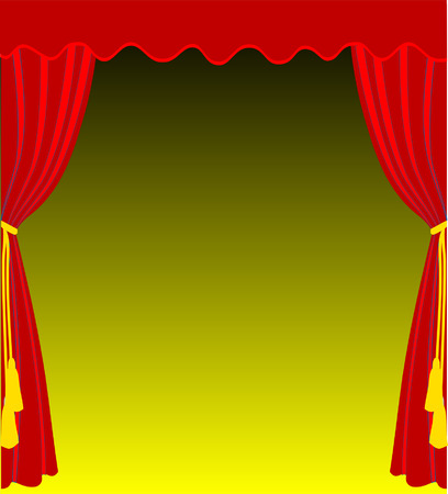 curtain to theater stage: Vector curtain background