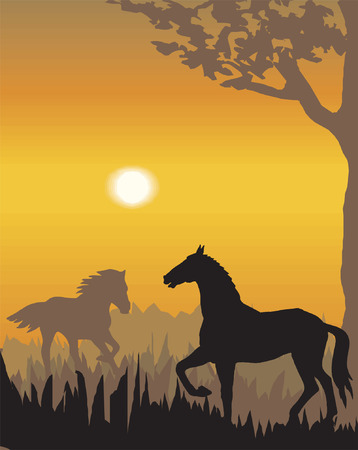 Vector evening landscape illustration with wild animals Illustration