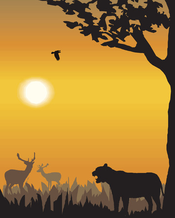 Vector evening landscape illustration with wild animals Vector