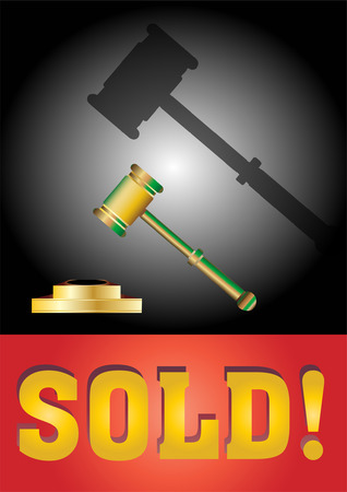 auctioneer: Vector Auction conceptual illustration with a gavel