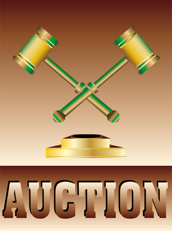 Vector Auction conceptual illustration with a gavel Vector