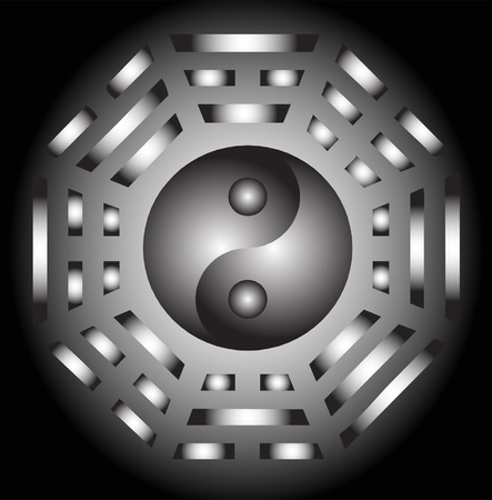 trigram: Vector Yin Yang and bagua illustration