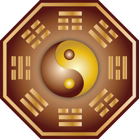 feng shui: Vector Yin Yang and bagua illustration