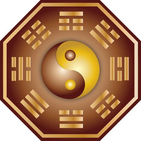yin et yang: Vector Yin Yang et bagua illustration  Illustration