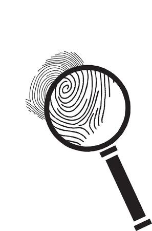 finger prints: Vector lupa con huellas dactilares