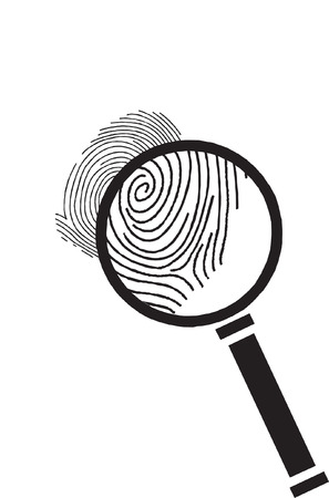 Vector magnifier with finger prints Stock Vector - 3099325