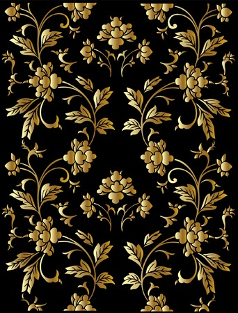 Seamless vector golden floral pattern Illustration