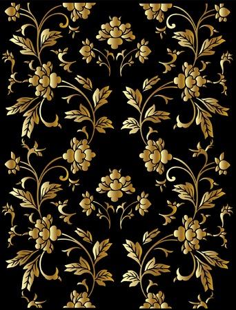 Seamless vector golden floral pattern Illustration