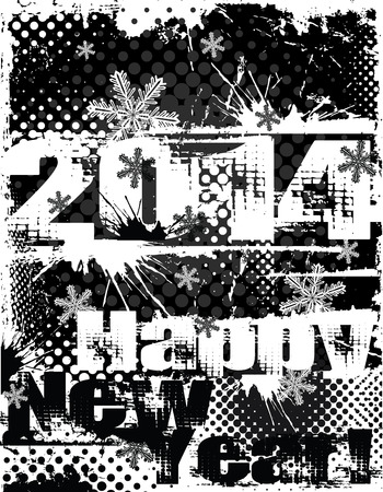 2014 New Year black and white distressed vector design Vector