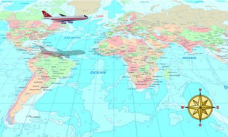 Voyage illustration conceptuelle, un avion au-dessus de la carte du monde  Banque d'images