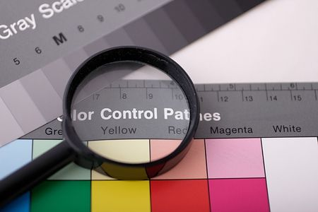 magnifier on color chart Stock Photo