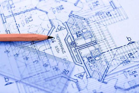 planos arquitecto: L�piz sobre Blueprint  Foto de archivo