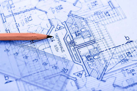 architect drawing: Pencil on Blueprint Stock Photo