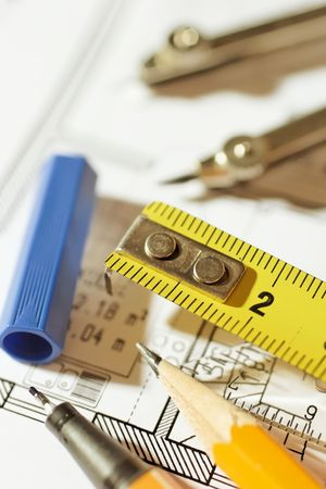 drawing tools on a floorplan Stock Photo