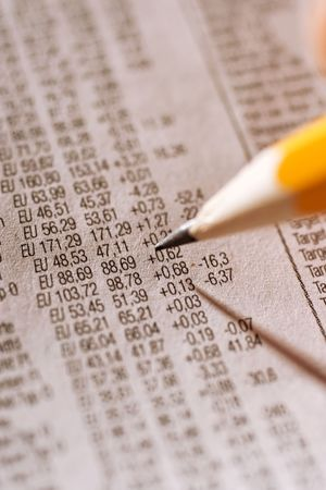 coporate: marking stock index in a news paper Stock Photo