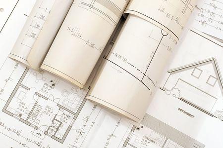 Planes para la construcción de casas  Foto de archivo - 414151