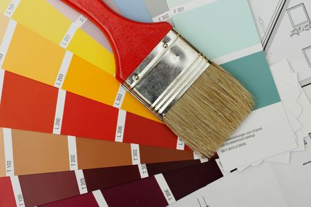 color chart: paint brush on color chart
