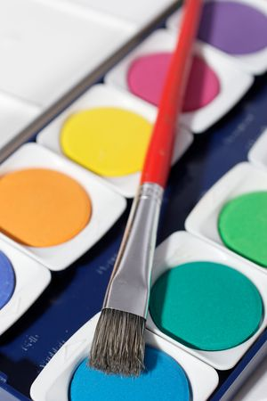 watercolor with brush on white background Stock Photo - 414112
