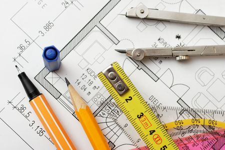 floorplan: drawing tools on a floorplan Stock Photo
