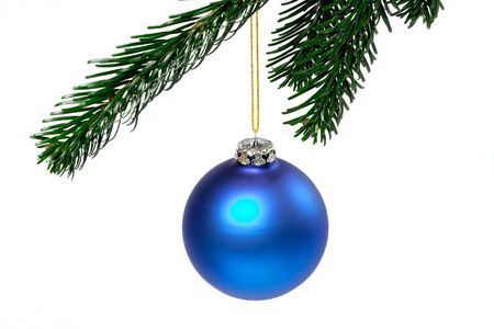 blue christmas ball on a green branch isolated on white background Stock Photo