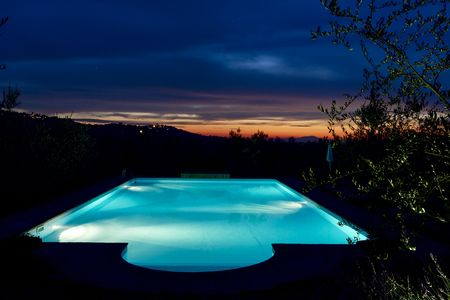 swimming pool on sunset