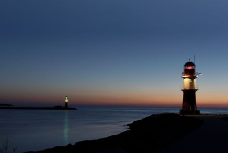 Two lighthouses after sunset long tim exposure