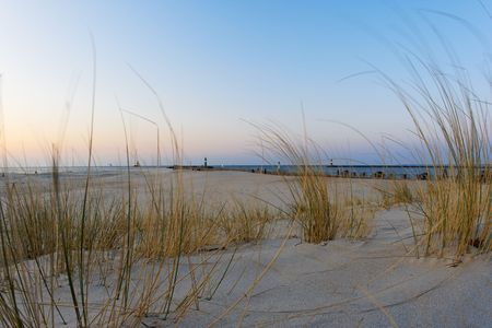 wide angle view of a beach in evening sun, baltic sea