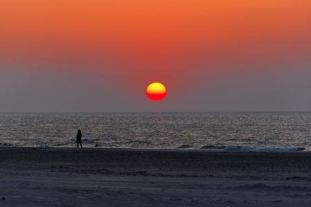 sunset on beach, baltic sea