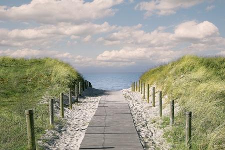 Walkway over seashore dunes