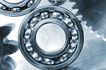 aerospace titanium gears and ball-bearings, blue toning idea photo