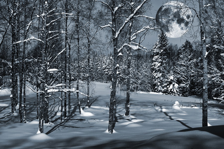 moon rise over snowy winter forest, sweden, smaland Stock Photo
