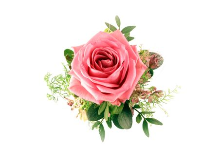 Bouquet with a single rose isolated on white background