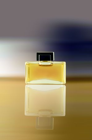 attar: Perfume with its reflection on the surface Stock Photo