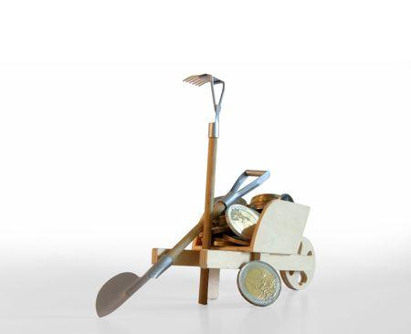 trundle: A pushcart full of Euro coins symbolizing work for money