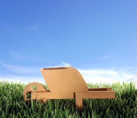 Push cart on plastic grass