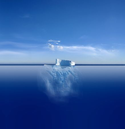 An iceberg above and below on its journey in the South Atlantic Stock Photo
