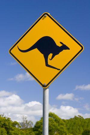 kangaroo: Closeup of Australian Kangaroo road sign Stock Photo