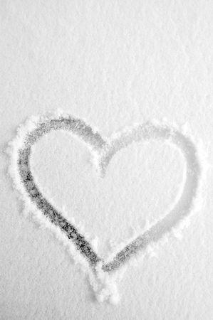 happyness: Heart on the fresh snow Stock Photo