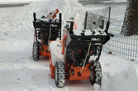 blowers: 2 snow blowers in the snow