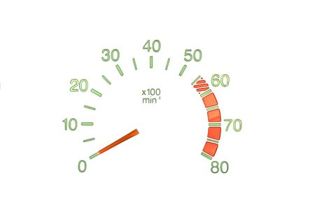 kilometre: series: luminous screen: Tachometer Stock Photo