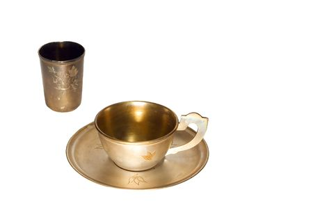 coining: series: isolated on white: old tea service Stock Photo