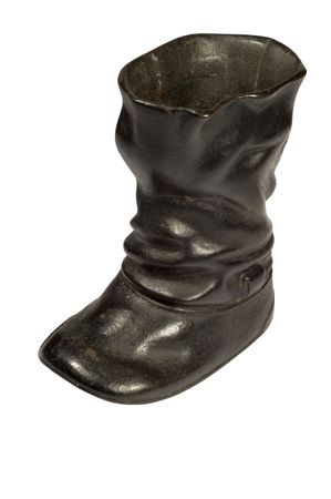 castings: series isolated on white - metal boot.made in 18 age