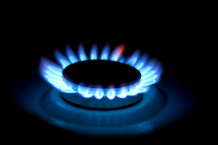 Three Gas-ring. night light. gassing, Gas cooker Stock Photo