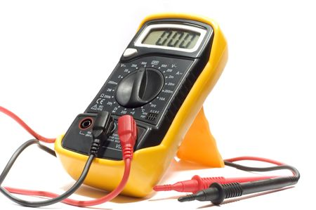 series object on white: isolated - electrical measurement - Digital multimeter photo