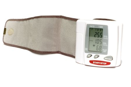 blood pressure monitor: series: isolated on white: blood pressure monitor Stock Photo
